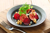 salad with figs, beets, walnuts and roquefort cheese