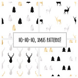 Set of gold foil seamless patterns with Christmas trees and deers for Christmas and New Year's wrapping paper. Vector illustration.