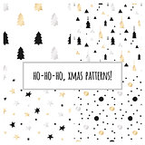 Set of gold foil seamless patterns with Christmas trees and stars for Christmas and New Year's wrapping paper. Vector illustration.