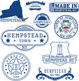 Set of generic stamps and signs of Hempstead, NY