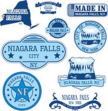 Set of generic stamps and signs of Niagara Falls, NY