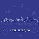 Harrisburg, Pennsylvania. City skyline sketch