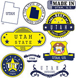 Set of generic stamps and signs of Utah state
