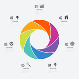 Infographics template 7 options with circle