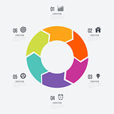 Infographics template 6 options with circle