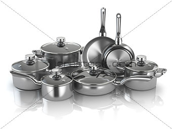 Pots and pans. Set of cooking stainless steel kitchen utensils a