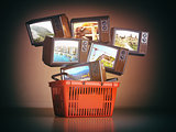 Shopping backet and old TV sets with different channels on the s