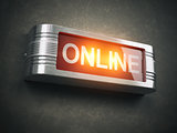 Online red glowing warning signboard. Record,  broadcasting or s
