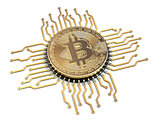 Bitcoin like a  CPU computer processor isolated on white backgro