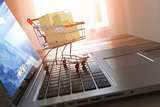 Shopping online and e-commerce. Laptop and shopping cart with bo