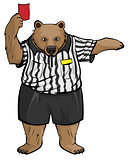 Brown russian bear soccer football referee shows red card