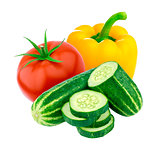 Tomato, cucumber and sweet pepper isolated on white background. Salad ingredients