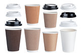 Disposable paper coffee cup isolated on white background. Collection