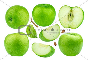 Green apple collection isolated on white background