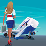 Young adult woman walks to the passenger plane