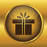 Gold button web icon present box