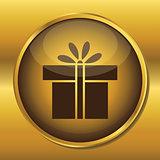 Gold button web icon present box