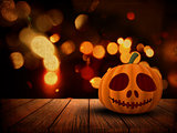 3D Halloween background with pumpkin on wooden table against a g
