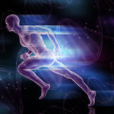 3D male figure sprinting on DNA strands background