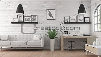 3D modern office room interior
