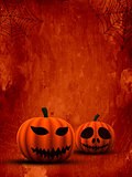 3D spooky pumpkins on grunge background