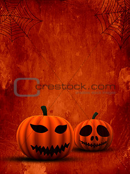 3D spooky pumpkins on grunge background