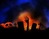 Halloween background with zombie hand bursting out of the ground