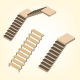 Flight of stairs isometric vector illustration.