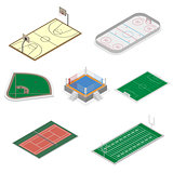 Set of playgrounds in isometric, vector illustration.