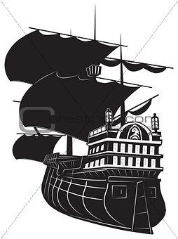 black ship on white background