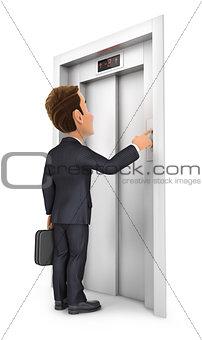 3d businessman calling the elevator