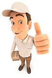 3d delivery man positive pose with thumb up