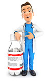 3d doctor standing next to pill bottle