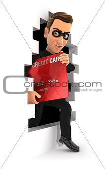 3d thief coming out through a wall with credit card