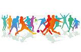 Soccer game, and footballer, illustration