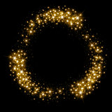 Gold glittering star dust circle