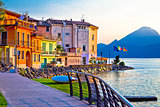 Porto village on Garda lake waterfront view