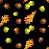 Seamless pattern with autumn leaves and ancorns on black background. Vector