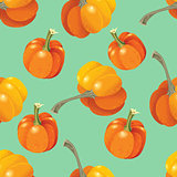 Orange pumpkins seamless pattern. Vector