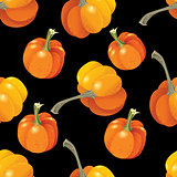 Halloween seamless pattern. Background with pumpkin on black. Vector