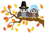 Thanksgiving owls thematic image 1
