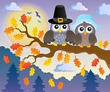 Thanksgiving owls thematic image 2