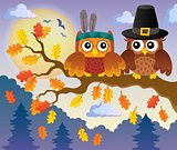 Thanksgiving owls thematic image 4