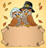 Thanksgiving parchment with happy owls