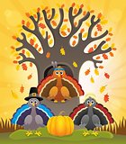 Thanksgiving turkeys thematic image 2