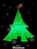 Christmas tree over black glowing background