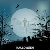 Halloween evil angel and moon background