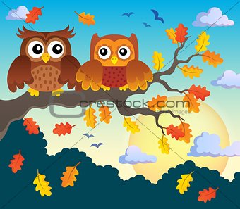 Autumn owls on branch theme image 2