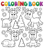 Coloring book Christmas deer topic 1