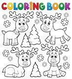 Coloring book Christmas deer topic 1
